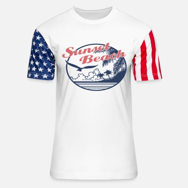 Beach Umbrella sunset beach - Unisex Stars & Stripes T-Shirt
