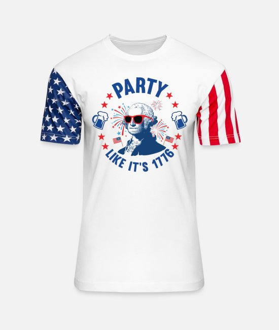 American T-Shirts - Party Like Its 1776 - Unisex Stars & Stripes T-Shirt white