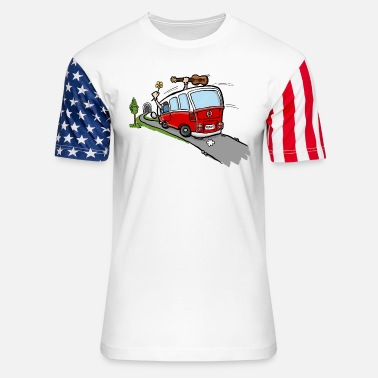 Occassionally Oh Hippie Day Van - Unisex Stars & Stripes T-Shirt