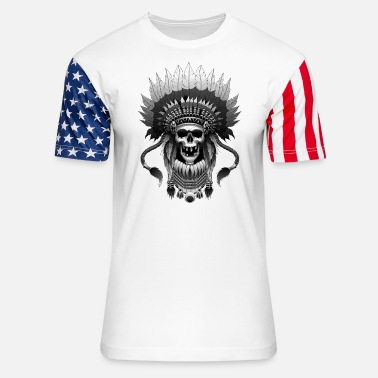 Native American Pride With An Indian Chief - Native American - Unisex Stars & Stripes T-Shirt