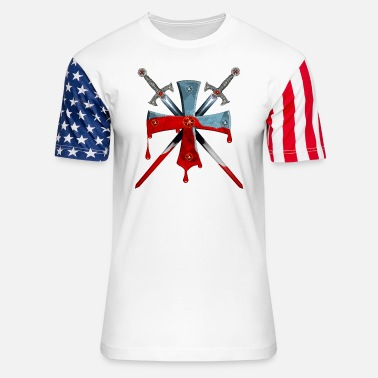 Crusader Knights Templars Crusaders Sword Cross weapon - Unisex Stars & Stripes T-Shirt