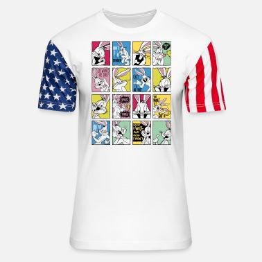 Bugs Bunny Looney Tunes Bugs Bunny Tiles - Unisex Stars & Stripes T-Shirt