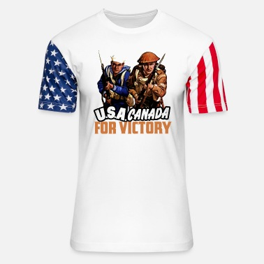 Shoulder To Shoulder USA/Canada World War 2 - Unisex Stars & Stripes T-Shirt