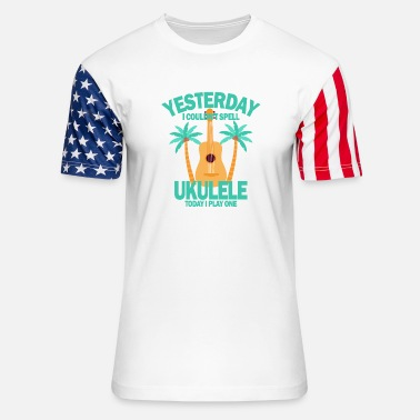 Rock Music Yesterday I couldnt spell ukulele today I play one - Unisex Stars & Stripes T-Shirt