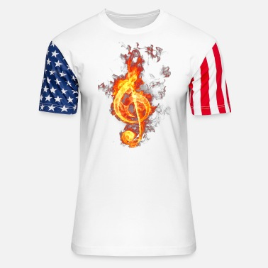Treble Clef treble clef on fire - Unisex Stars & Stripes T-Shirt