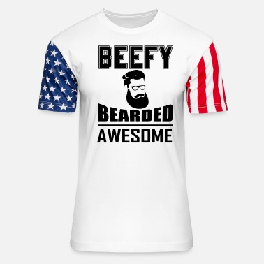 Beefy Beefy Bearded Awesome - Unisex Stars & Stripes T-Shirt