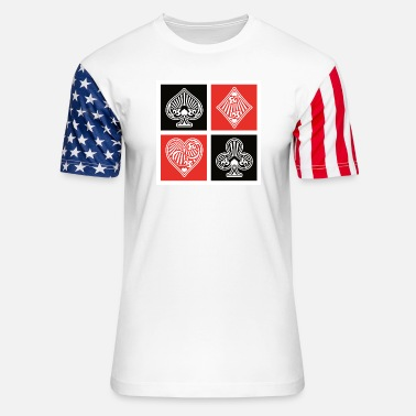 Playing Playing Cards Suit Symbol - Unisex Stars & Stripes T-Shirt
