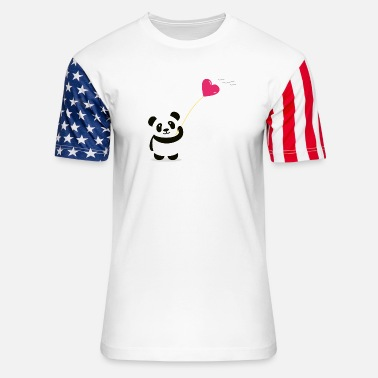 panda heart street art minimal baer cute love - Unisex Stars & Stripes T-Shirt