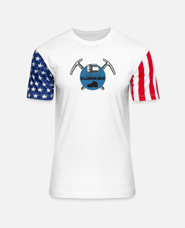 Mountains T-Shirts - mountain climbing 3 - Unisex Stars & Stripes T-Shirt white