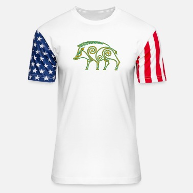 Wild Boar Celtic boar - Unisex Stars & Stripes T-Shirt