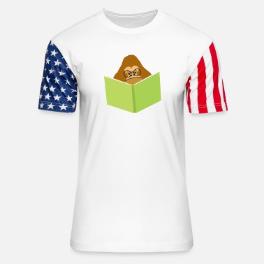 Orang Utan Orang-utan in glasses reading a book - Unisex Stars & Stripes T-Shirt