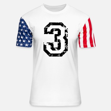Number The Number Three - No. 3 (two-color) white - Unisex Stars & Stripes T-Shirt