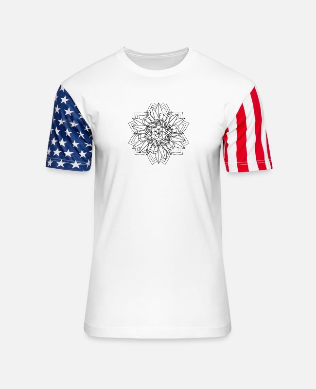 Buddha T-Shirts - Mandala Oldschool MANDALA Ink Tattoo Newschool Mod - Unisex Stars & Stripes T-Shirt white