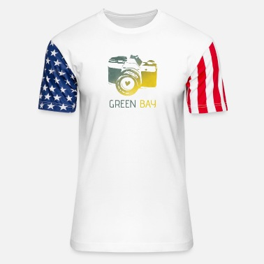 Green Bay camera with heart - Unisex Stars & Stripes T-Shirt