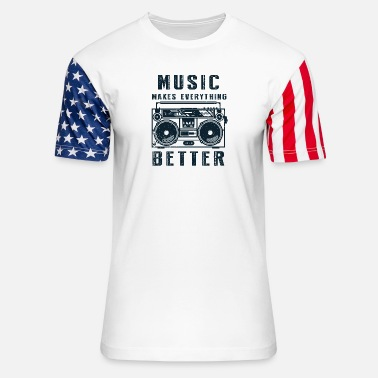 Music Star Music makes everything better old school - Stars & Stripes T-Shirt