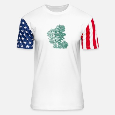 Axe Gnarled Tree Design - Unisex Stars & Stripes T-Shirt