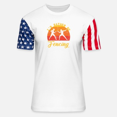 Duel I'd Rather Be Fencing Duel Hobby Sunset - Unisex Stars & Stripes T-Shirt