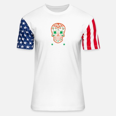Pattys St. Patrick's Day Sugar Skull Day Of The Drunk - Unisex Stars & Stripes T-Shirt