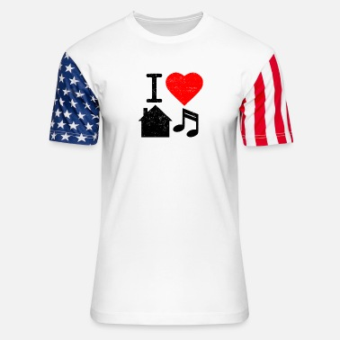I Love House I Love House Music - Unisex Stars & Stripes T-Shirt