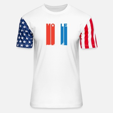 Red White And Blue Red White And Blue Mobile Alabama Skyline - Unisex Stars & Stripes T-Shirt