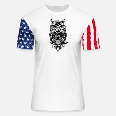 owl black - Unisex Stars & Stripes T-Shirt