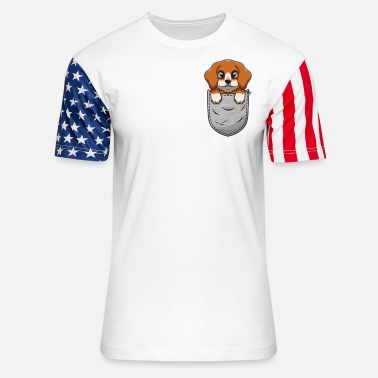 Bulldogs Beagle in Breast Bag Pocket for Dog Owners - Unisex Stars & Stripes T-Shirt