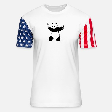 Panda with guns - Unisex Stars & Stripes T-Shirt
