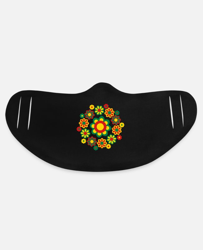 Design Face Masks - Floral Mandala by Cheerful Madness!! - Basic Lightweight Face Mask black