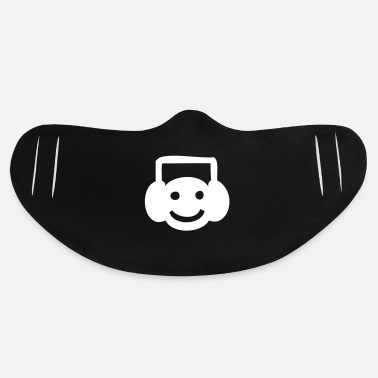 Smiley Headphones A Smiley Face Listening to Music - Basic Lightweight Face Mask