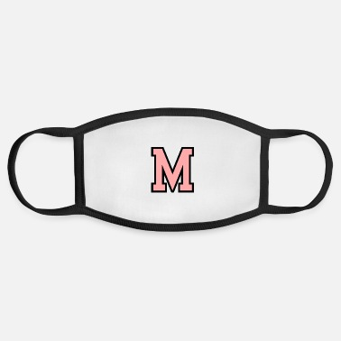 Initial Monogram Pink Black White College Initial M - Face Mask