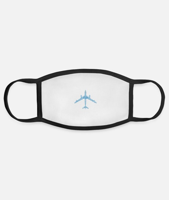 Flight Face Coverings - Airplane Word Cloud - Face Mask white/black