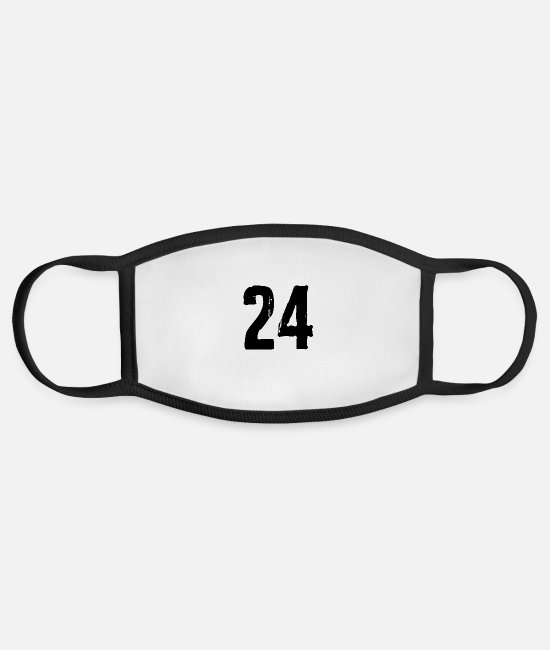 Numbers Face Masks - 24 number - Face Mask white/black