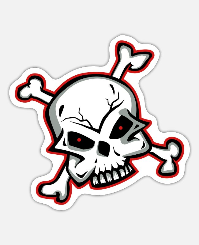 Pirate Flag Stickers - 28. skull,skull and bones,tribal,skull ,skulls - Sticker white matte