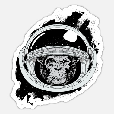 Black And White Collection Space monkey Black and white Art - Sticker