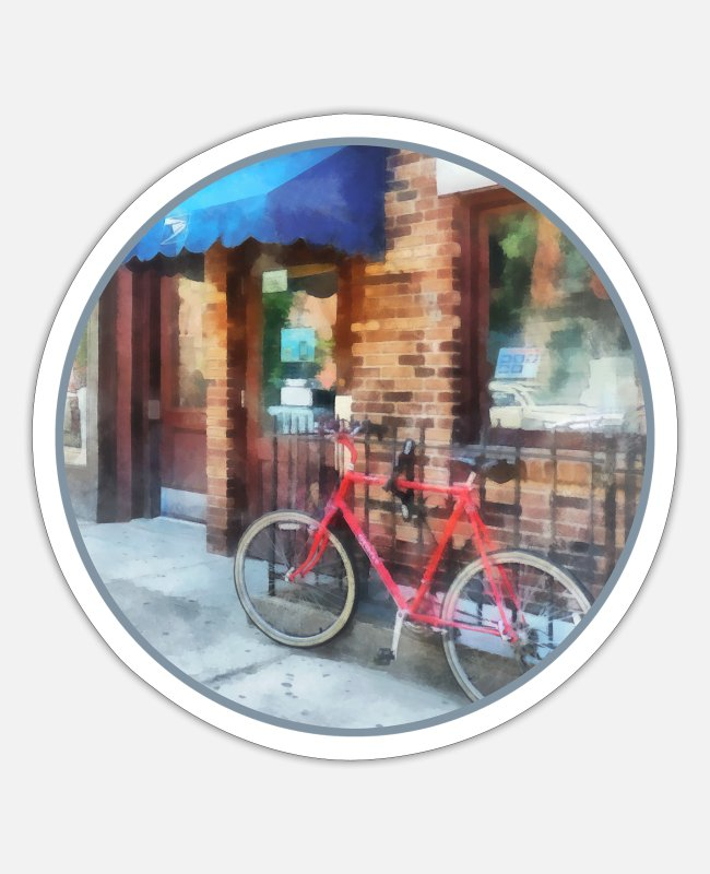 Red Stickers - Hoboken NJ - Bicycle by Post Office - Sticker white matte