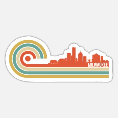 Wisconsin Retro Style Milwaukee Wisconsin Skyline - Sticker