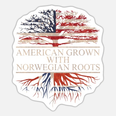 American American grown with norwegian roots, Norway Flag - Sticker