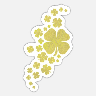 Look Charm Anniversary golden clovers lucky symbol st patrick's day - Sticker