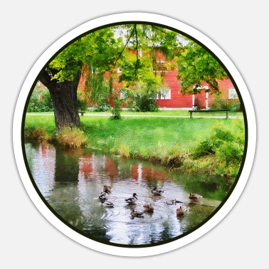 Pond Ducks On Pond - Sticker