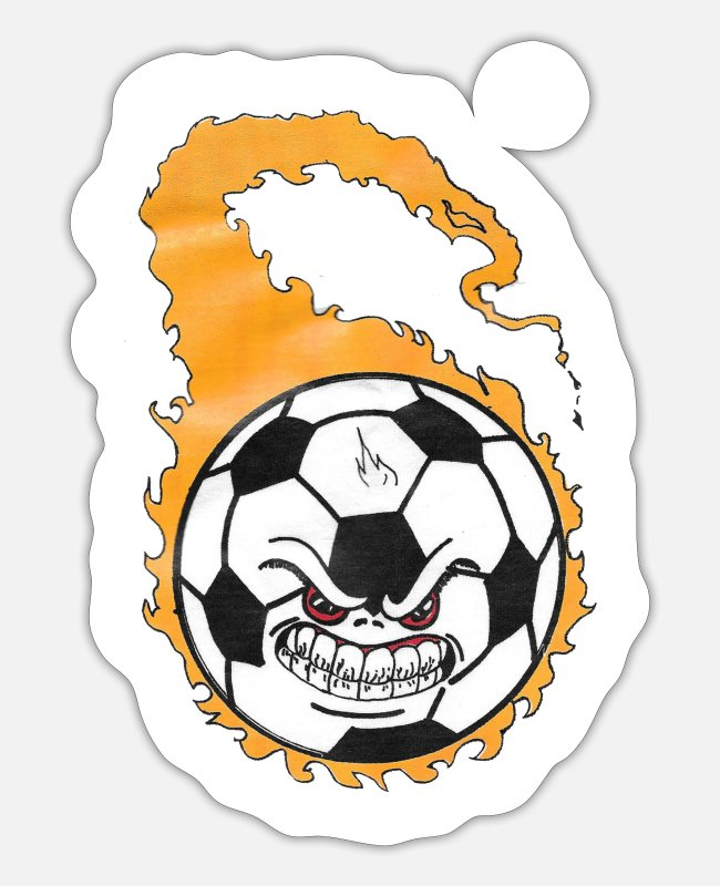 Ball Stickers - flaming soccer ball - Sticker white matte