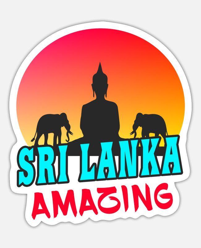 Buddhism Stickers - Sri Lanka Amazing / Buddha Elephant Gift - Sticker white matte