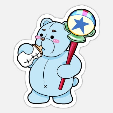 Ageplayer teddy bear baby bottle rattle - Sticker
