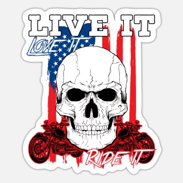 Death Skull Chrome Bikers Bike Chopper Motorcycle Gift - Sticker