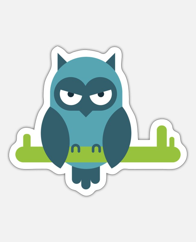 Owl Stickers - owl bird comic draw - Sticker white matte