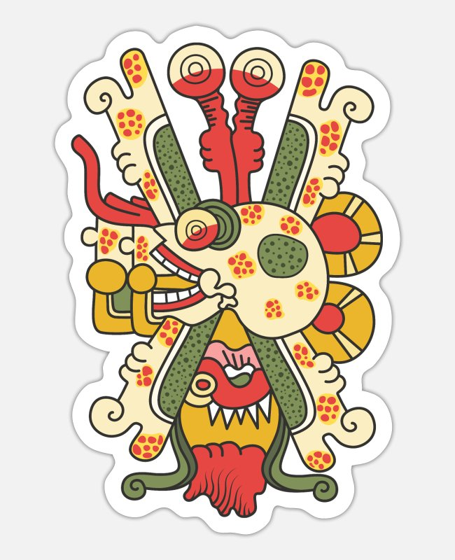 Design Stickers - Aztec Skull Graphic - Sticker white matte