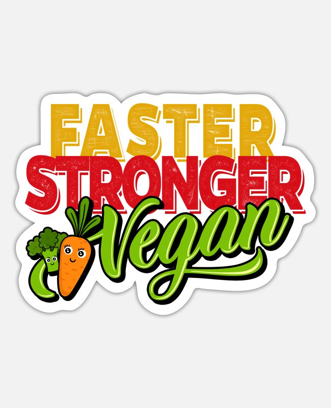 Carrot Stickers - Vegetarian Vegan - Faster Stronger Vegan - Sticker white matte