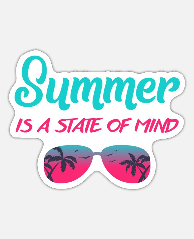 Palm Trees Stickers - summer is a state of mind - gift idea - Sticker white matte