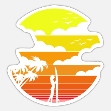 Palm Trees Grab surf girl under the sunset, palm trees - gift idea - Sticker