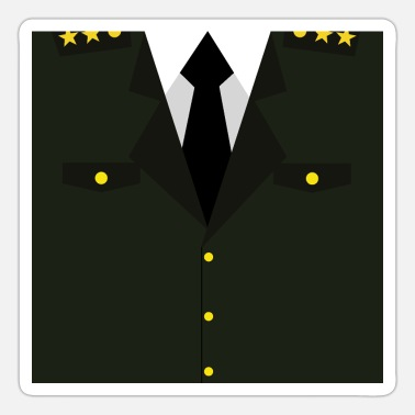 Rank General Dark green Military Uniform - idea gift - Sticker