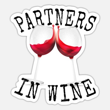 White Wine Partners In Wine / White Red Wine Drinker - Sticker